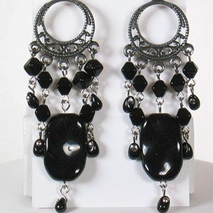 Black Chandelier Earrings Hand Crafted